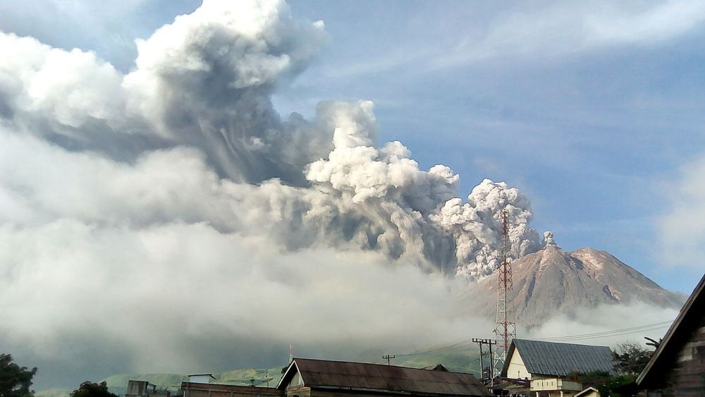 Sinabung's lava dome grows after third eruption in a week