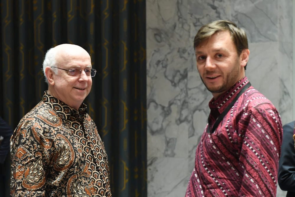 Permanent Representative of the Dominican Republic to the United Nations Jose Singer (left) and another delegate also wore batik and 'tenun' to the UNSC meeting on May 7 in New York.