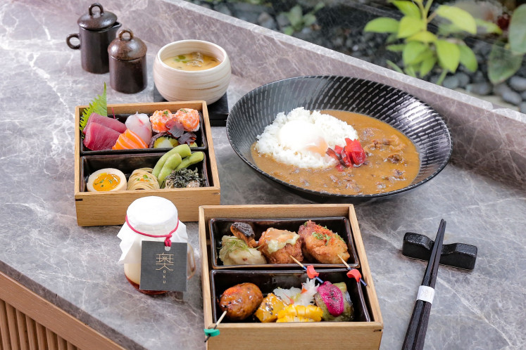 Iftar bento is on offer to break the fast at Oku Japanese restaurant, Hotel Indonesia Kempinski Jakarta.