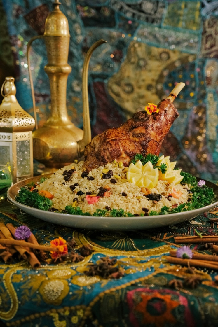 Quzzy (slow cooked lamb served with roasted nuts, vegetables and Arabic rice) at Al Souk Marrakech, The Dharmawangsa Jakarta during Ramadan.