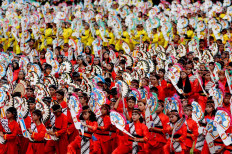 The Jaranan dance is performed by 5,000 students at the Sriwedari stadium on April 29, 2019.  JP/Ganug Nugroho Adi