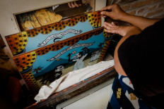 The finished glass paintings are ready though they are not framed yet. JP/Anggertimur Lanang Tinarbuko