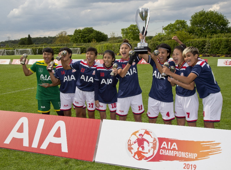 Indonesian soccer team trains with Tottenham Hotspur women's squad