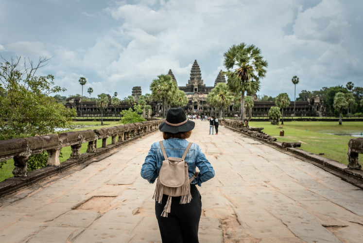 Walking in Siem Reap, Cambodia.