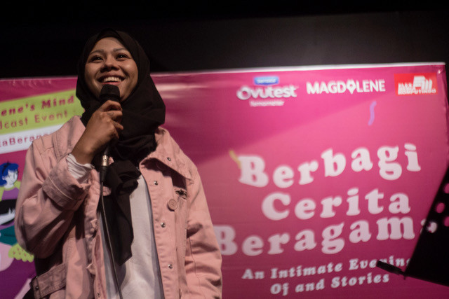 Mega Syalshabillah at 'Berbagi Cerita Beragama (Sharing Stories on Religions): An Intimate Evening of Comedy and Story Telling' in Jakarta on May 15.