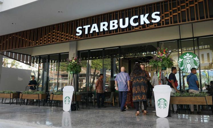 The facade of the Starbucks store in Labuan Bajo, East Nusa Tenggara.