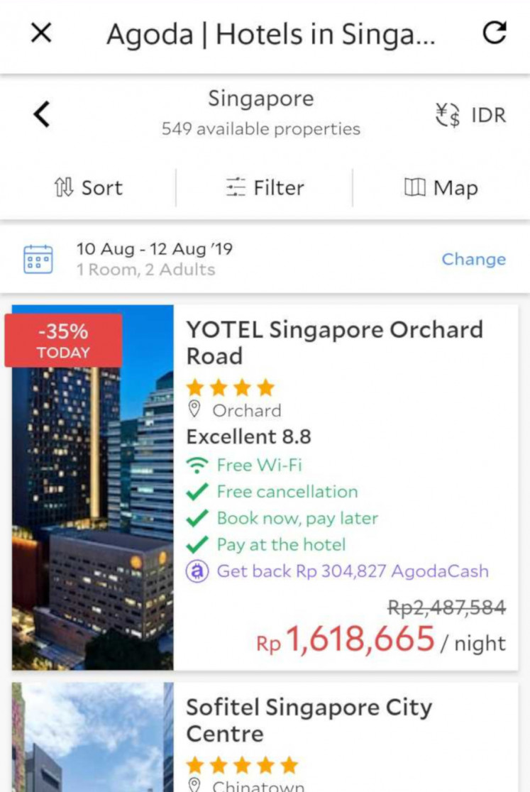 Grab's hotel-booking feature is based on search results from Agoda and Booking.com. Users can set preferences for price and currency and sort the hotels by location.