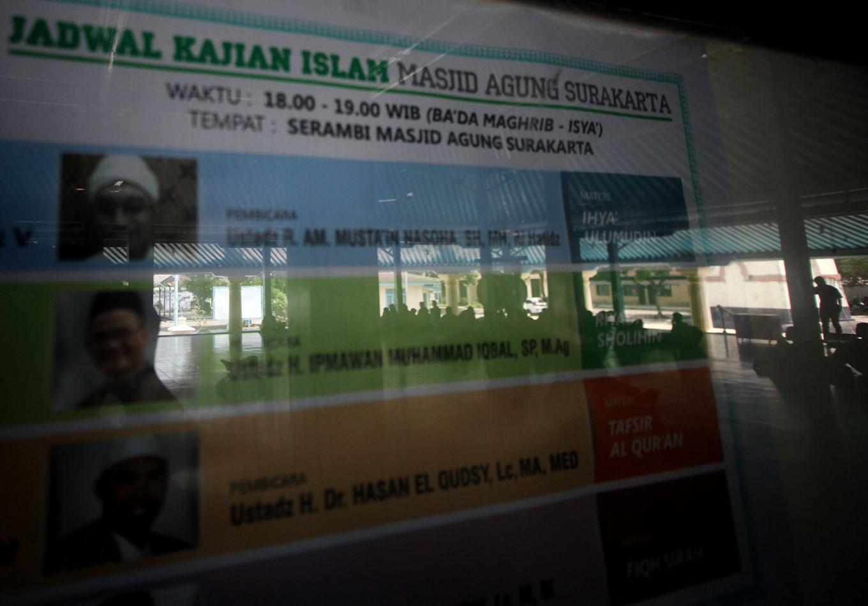 A schedule of preachers is seen on the announcement board. JP/Boy T. Harjanto