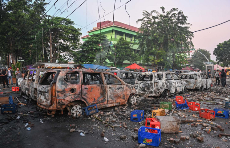Carcasses that were burned by the mob are seen during an overnight demonstration near by the Elections Oversight Body (Bawaslu) in Jakarta on May 22, 2019.