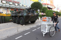 A military vehicle is parked outside the Lindeteves Trade Center (LTC) in Glodok, Central Jakarta. JP/Dhoni Setiawan