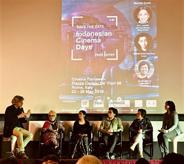 Film talk: Actress Ayu Laksmi, actor Christoffer Nelwan and producer Anastasia Rina Damayanti join a discussion held as part of the film festival.