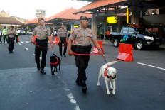 Guard's best friend: K-9 police personnel inspect I Gusti Ngurah Rai International Airport in Bali on Tuesday. A team of 1,648 personnel was prepared to secure the airport during the holiday exodus. Airlines have provided 765 extra flights to anticipate a jump in passengers. JP/Zul Trio Anggono