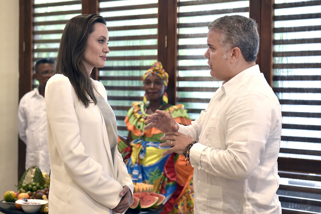 UN envoy Jolie meets Colombian president over Venezuelan migrant kids