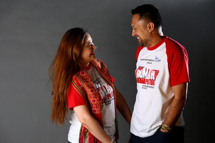 'Rumah Merah Putih' executive producer Nia Zulkarnaen (left) shares a smile with director Ari Sihasale.