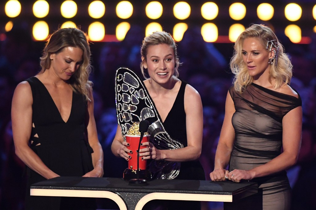 'Avengers' dominates MTV awards as Larson honors stunt doubles
