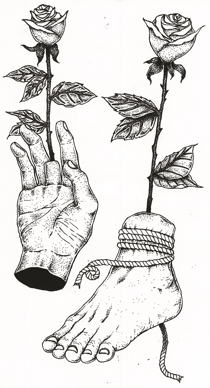Hanging by a thread: Andro's drawings have grown to infuse more of his existing sense of sorrow.