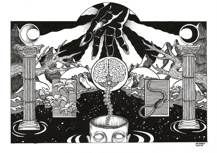Monochromatic: Illustrator Andro Kristian's drawings are mostly in black and white.