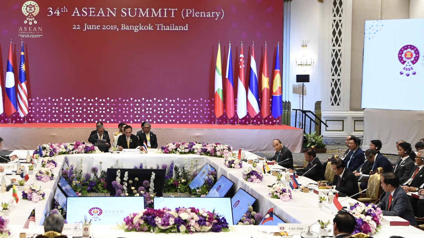 A plenary session is held at the 34th ASEAN Summit in Bangkok on Saturday. Image: Antara/Puspa Perwitasari