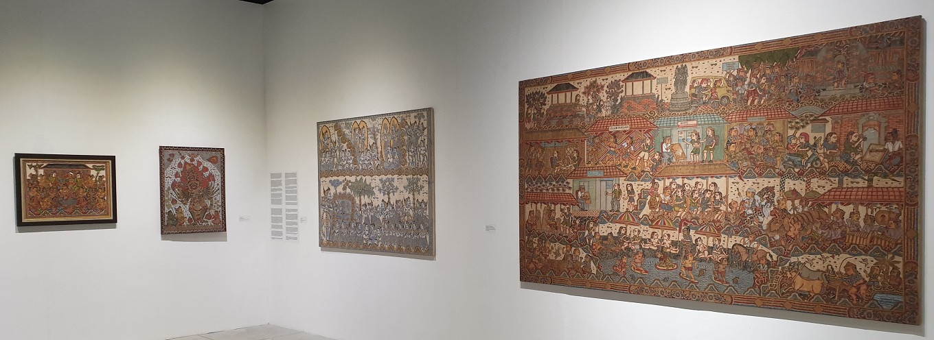 Balinese Classical paintings by (from left) Mangku Muriati, Mangku Mura, Mangku Kondra and Mangku Nyoman Kondra.