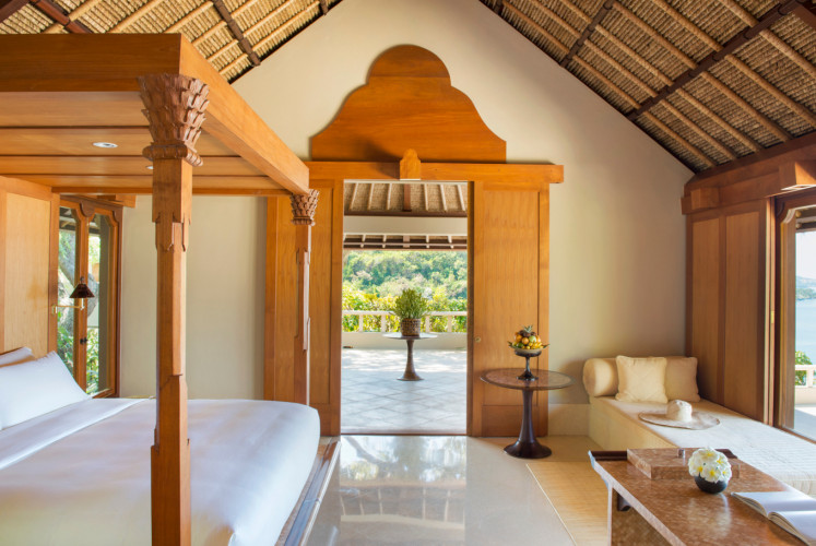 The interior of one of the suites at Amankila. It has a total of 33 suites with different views, such as of the ocean or the garden.