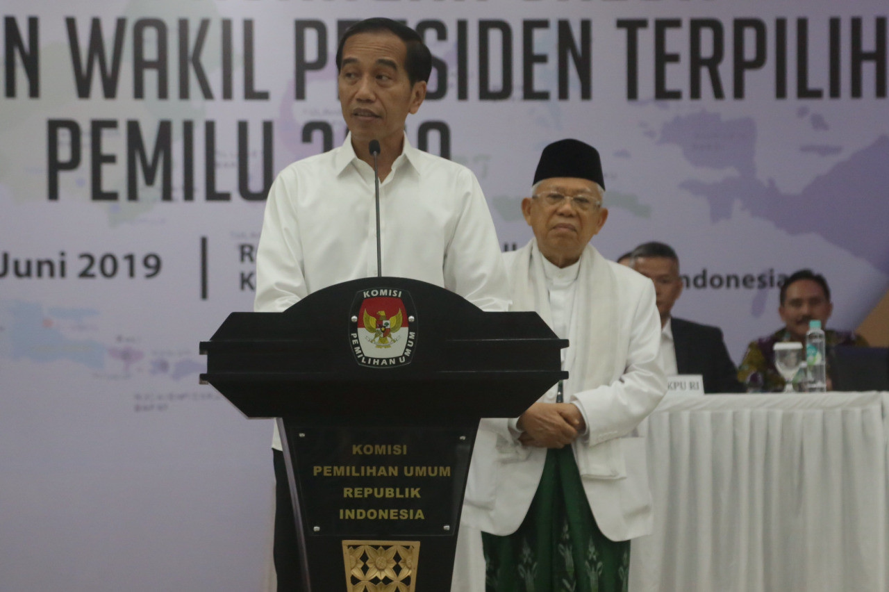 President Jokowi, VP-elect Ma'ruf call for unity once more