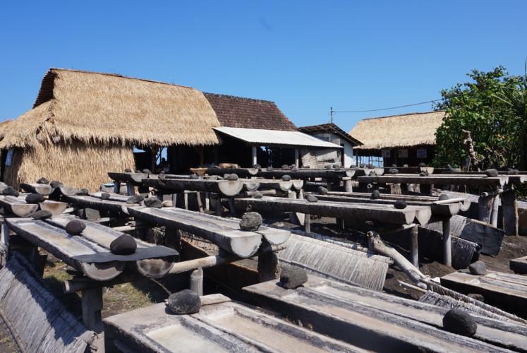 A sea salt farm in Kusamba village, Klungkung regency, Bali.