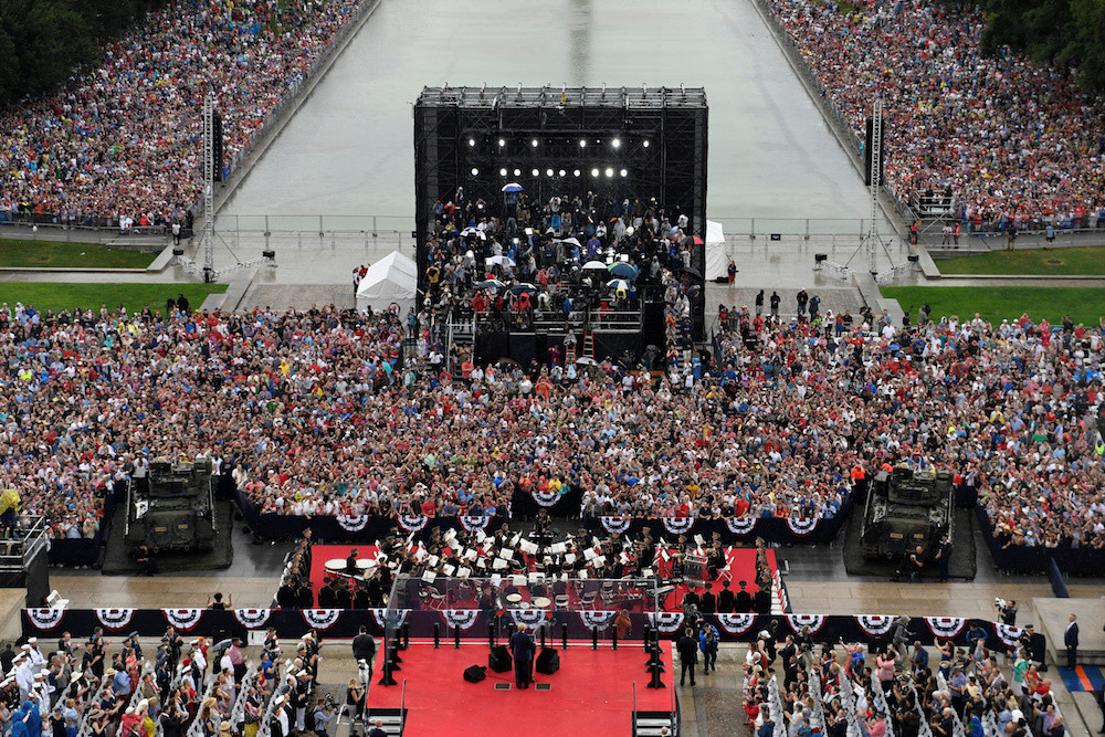 Defying critics, Trump salutes military in pomp-filled July 4 celebration