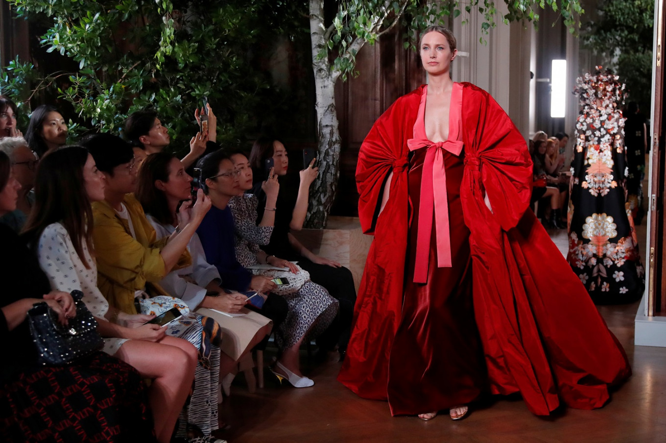 Kimonos and colossal bows fill Valentino's colorful catwalk