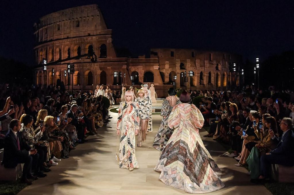 Fendi celebrates Lagerfeld at Rome's Temple of Venus