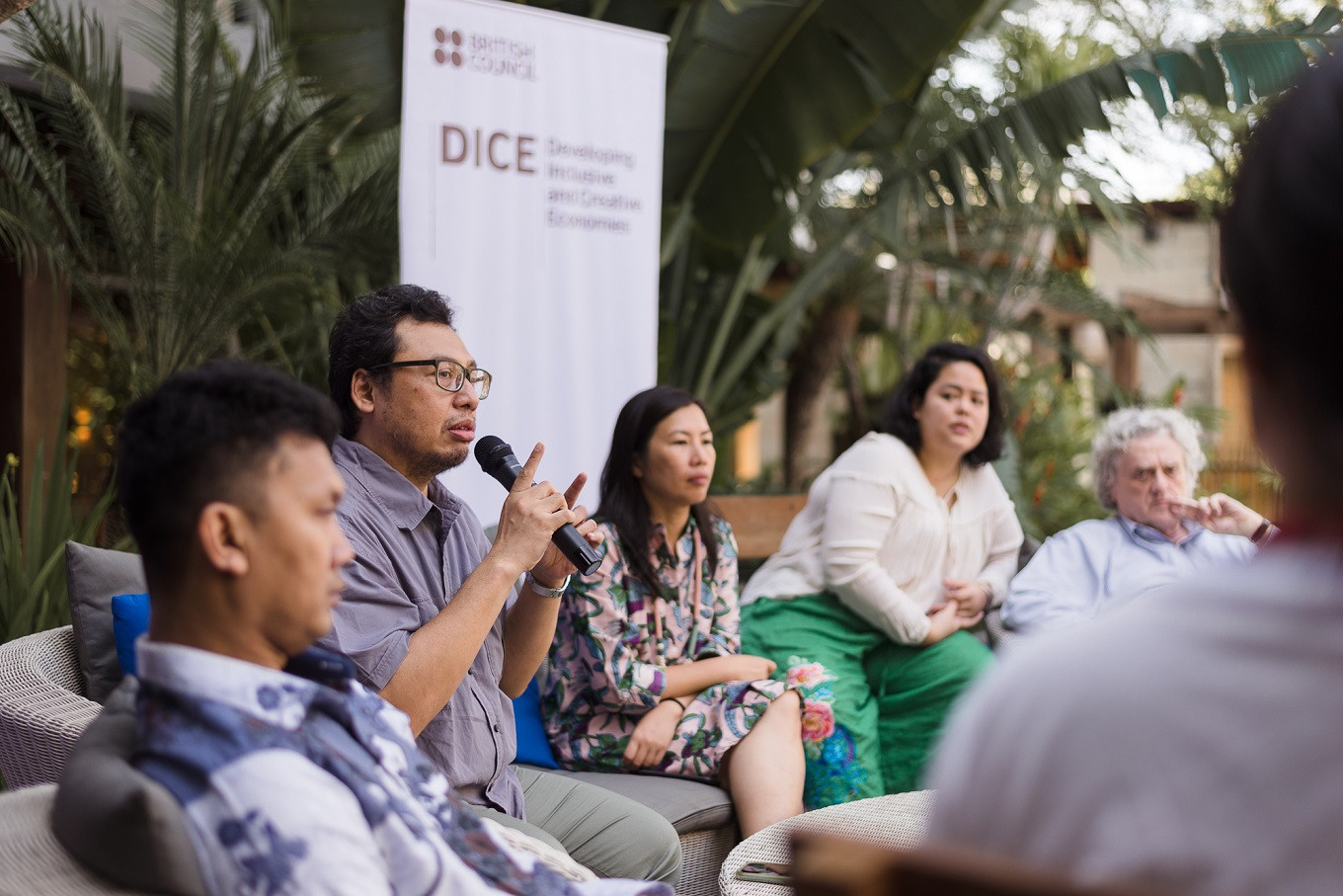 Baskoro Junianto (second left), an expert and curator with Bekraf), speaks about the future of the creative economy during a panel discussion on July 1.