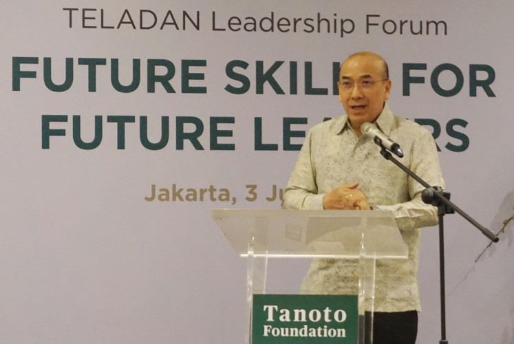 Satrijo Tanudjojo, CEO global of the Tanoto Foundation, gives an opening speech during the Teladan Leadership Forum at the Tanoto Foundation's office in Central Jakarta on July 3.
