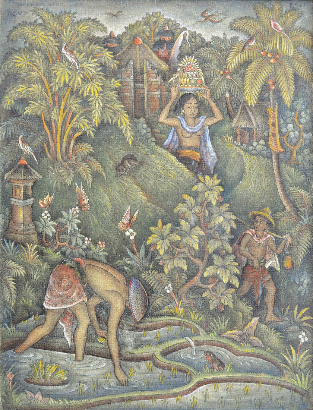 Lot 753: 'Woman with Offering at the Sawah Scene' by Ida Bagus Made Poleng