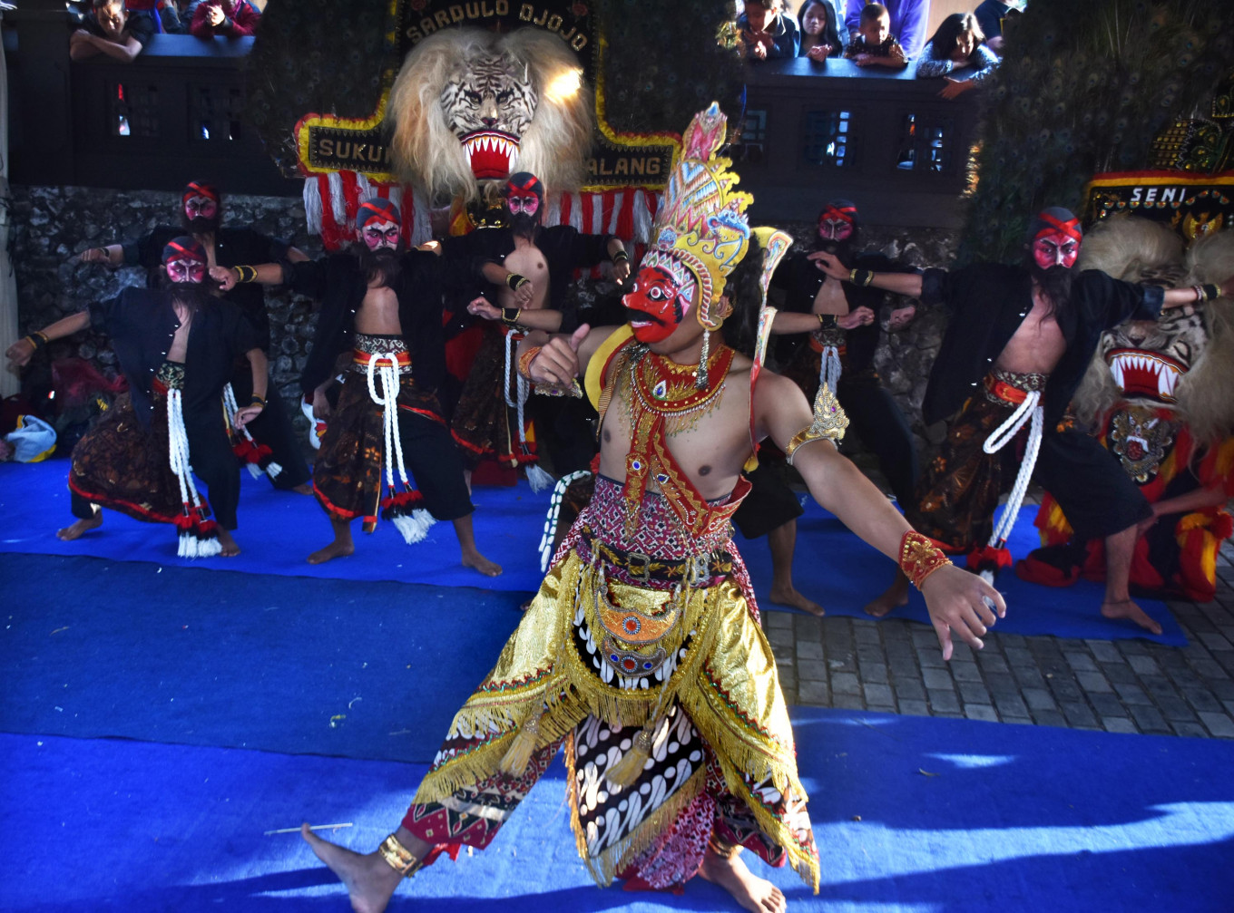 The 'sewandono' dance is performed by the Sardulo Djojo'reog' (traditional masked dance) artist collective of Malang at the 2019 Archipelago Panji Festival in Krida Budaya Park, Malang, East Java, on July 12.