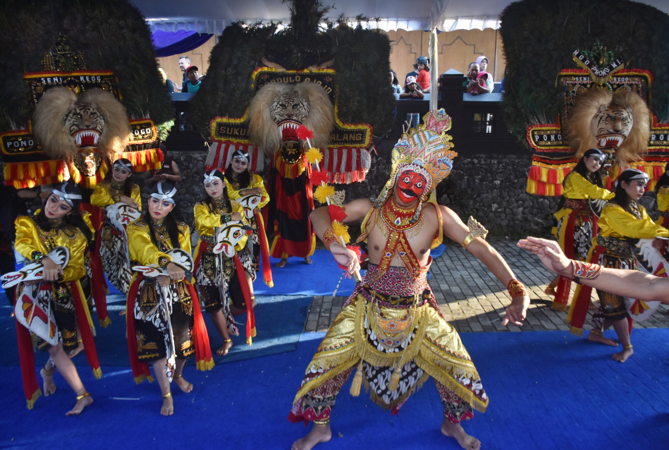 The 'sewandono' dance is performed by the Sardulo Djojo 'reog' (traditional masked dance) artist collective of Malang at the 2019 Archipelago Panji Festival.