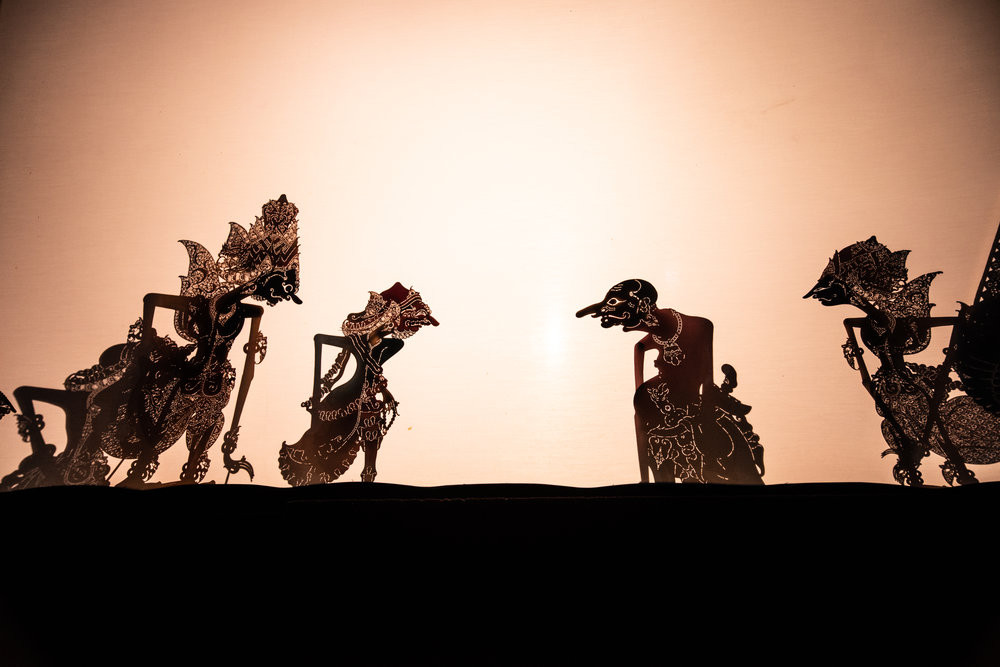 Wayang kulit shadow puppets tell a story, usually taken from Mahabharata or Ramayana. JP/Tyler Blodgett
