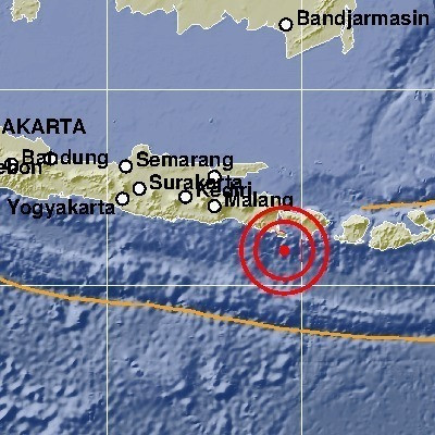 The Meteorology, Climatology and Geophysics Agency (BMKG) reported that the epicenter of the magnitude-6 earthquake was located about 83 kilometers south-west of Nusa Dua, Bali at a depth of 68 km.