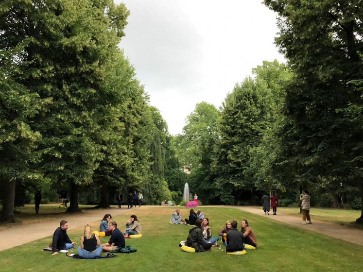 Under the sun: Malkastenpark in Düsseldorf, Germany, is perhaps the perfect place to showcase Ari Bayuaji's exhibition, which calls for unity and community.