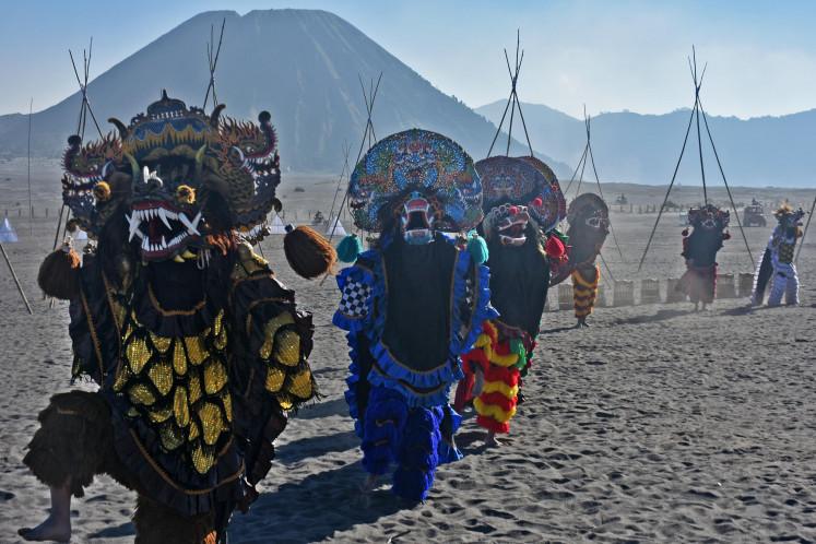 The reog (mask dance) performance at the Eksotika Bromo 2019 on Mount Bromo, Probolinggo, East Java, on July 14.