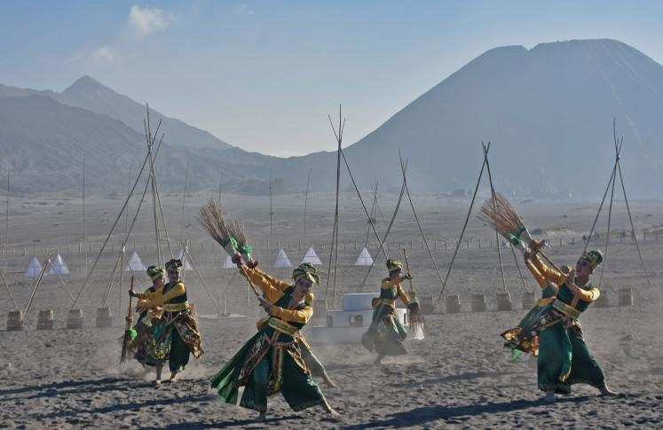 A traditional dance performance at the Eksotika Bromo 2019 on Mount Bromo, Probolinggo, East Java, on July 14.