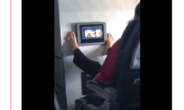 Ghastly viral video shows passenger toeing the line in in-flight etiquette