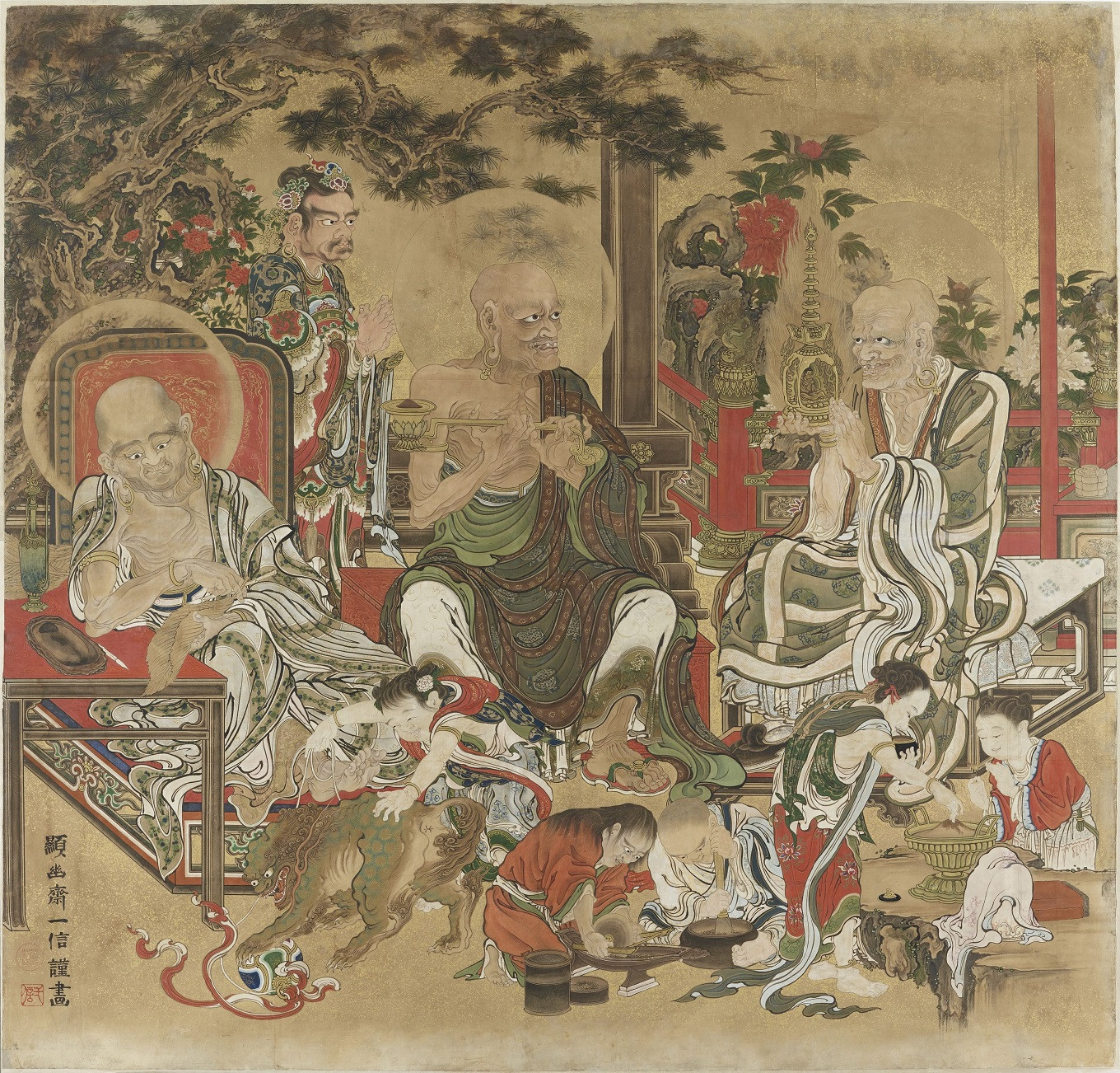 16 Arahats Daily Life depicts the first disciples of Buddha. This is one of four panels, attributed to Kanu Kazunobo (1816-1863), Japan of the Edo Period, acquired in 1876, painted on paper, with ink, powder colours and particles of gold. Height of each panel 165 cm and length 170cm.