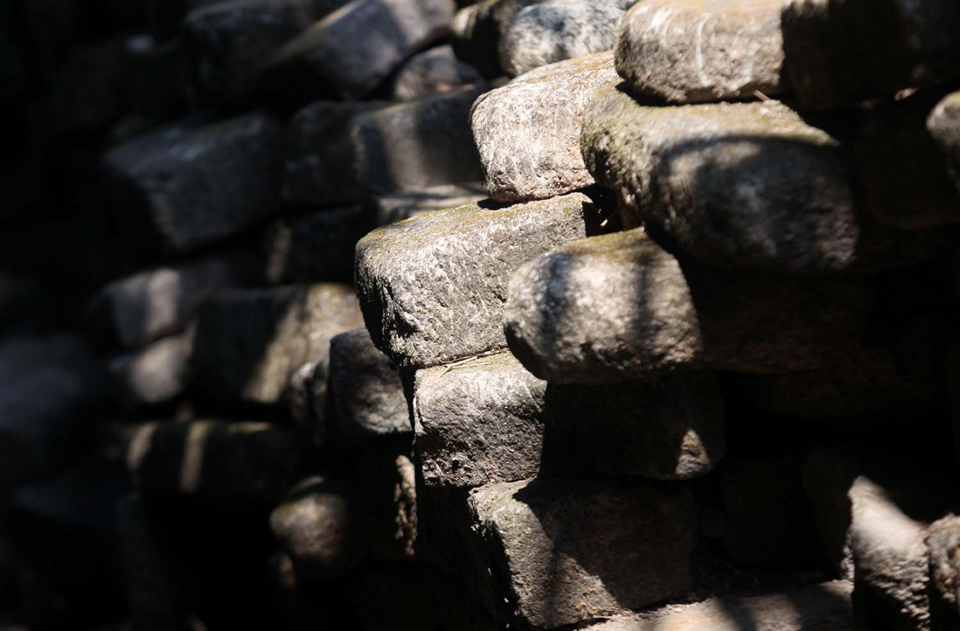 Stone legacy: The stone blocks forming the walls of the Cepuri Fortress had shifted out of alignment over five centuries before they were restored. JP/ Boy T Harjanto