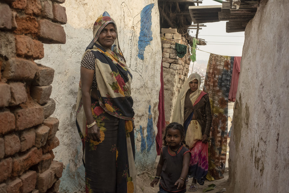 Vimla (60) has lived on the outskirts of the mela with her children and grand children for three generations. JP/Tyler Blodgett