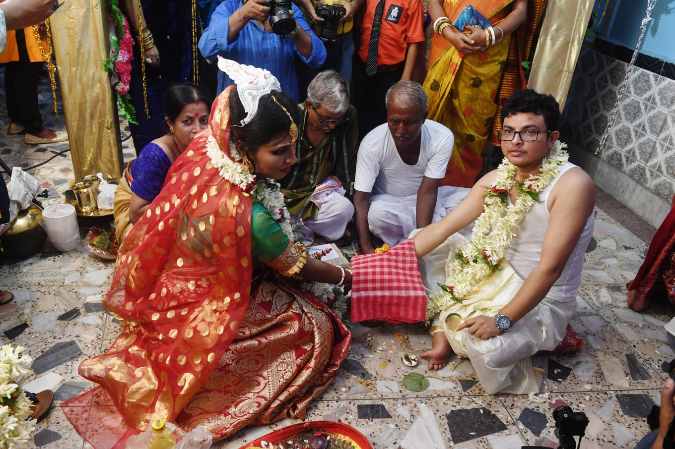 'Rainbow wedding': Indian transgender couple marry in emotional ceremony