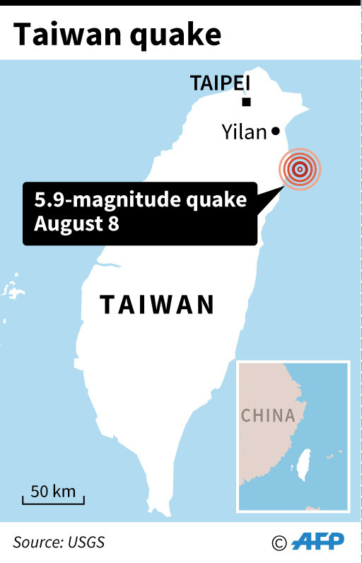 One dead after 5.9-magnitude quake jolts Taiwan