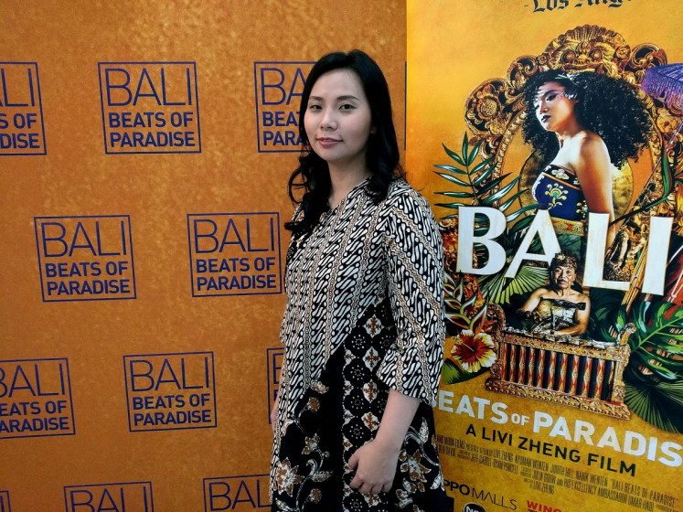 Livi Zheng during a screening event of 'Bali: Beats of Paradise' at CGV Cinemas in Blitar Town Square, Blitar, East Java, on Wednesday, Aug. 7.