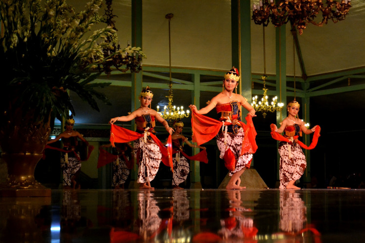 Traditional Javanese dances are frequently presented at the Mangkunegara Palace in Surakarta.