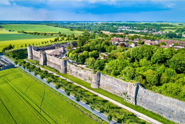 Aerial view of the city walls of Provins, a town of medieval fairs and a UNESCO World Heritage Site.