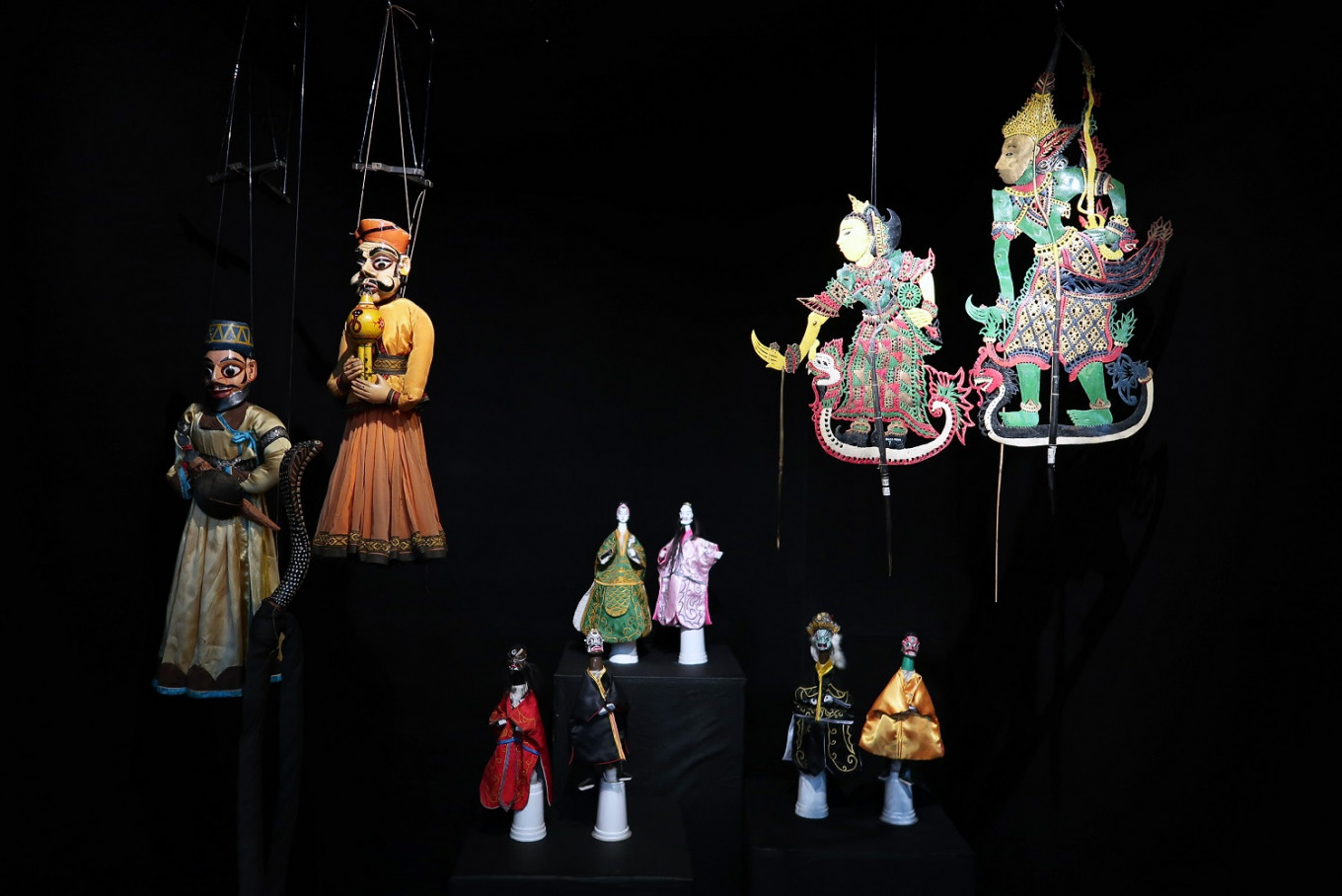 Thai, Indian and Chinese puppets on display in the lobby of Hotel Indonesia Kempinski in Central Jakarta.