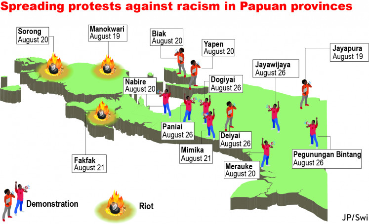 Spreading protests against racism in Papuan provinces in 2019.
